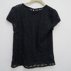 LOFT Tops - LOFT Embroidered Sheer Floral Top Black Cap Sleeve